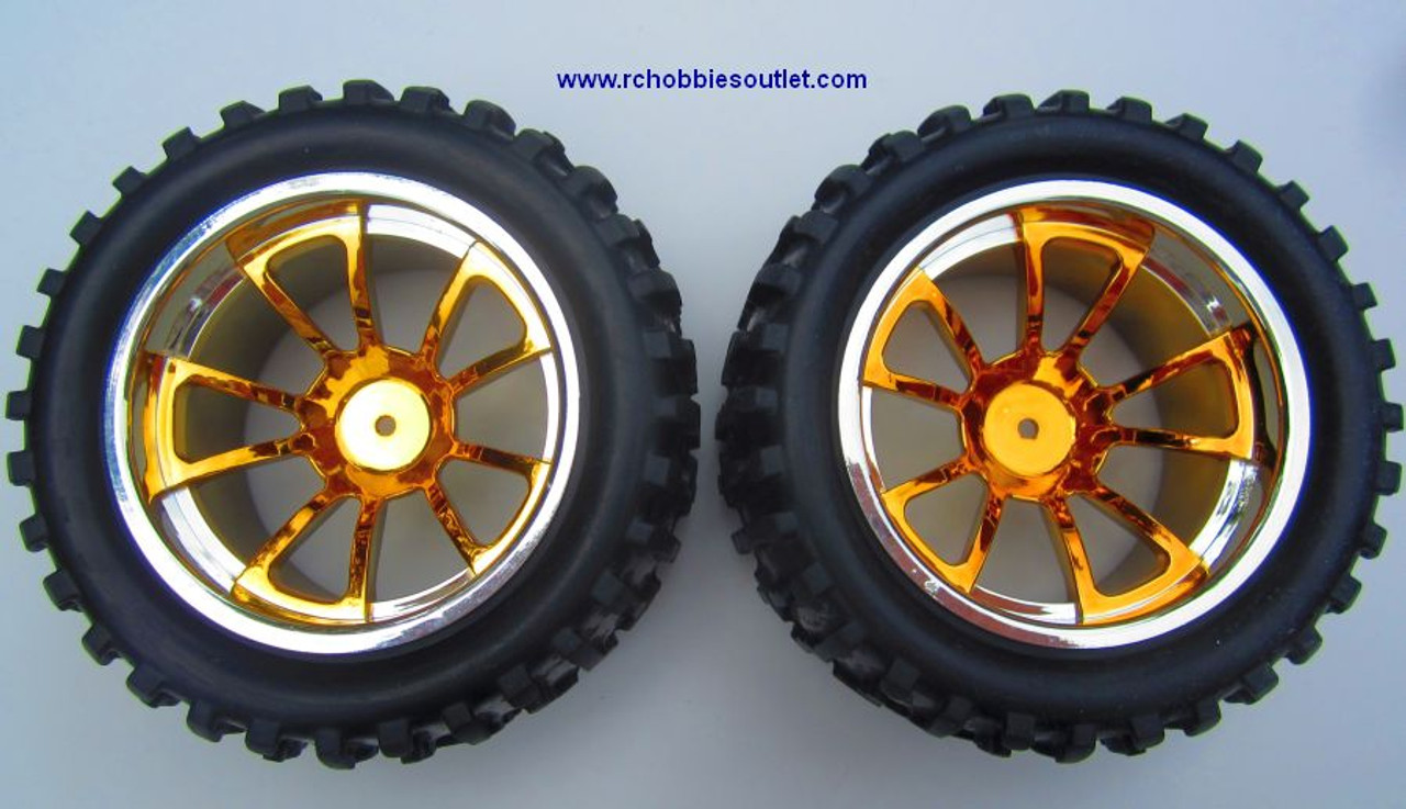 08010 1/10 MONSTER TRUCK WHEEL, TIRE AND GOLD RIM COMPLETE ( 2 PC)
