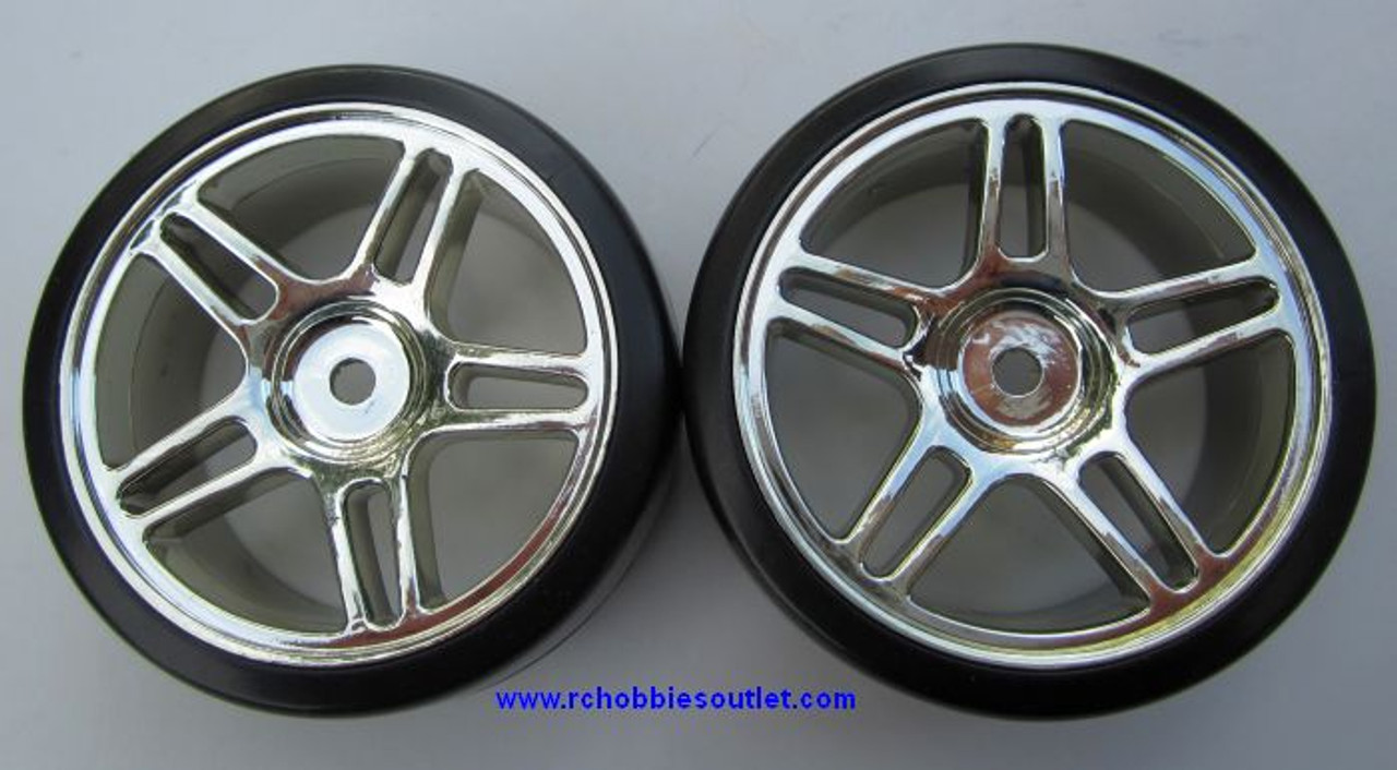 07003 1/10 Scale Drift Tires Rims Wheels  Silver