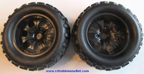 08010 1/10 Monster Oversize Truck Wheel, Tire and Black Rim Complete ( 2 PC) HSP, Redcat 08043