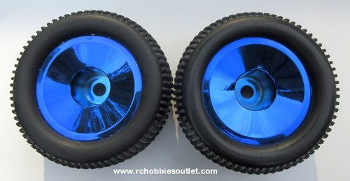 86722  Wheel Tire & Blue Chrome Rim for HSP 1/8 Scale Truggy ( 2 pieces) HSP, Redcat
