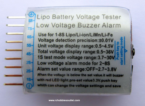 LIPO  Voltage Tester and Low Voltage Buzzer Alarm