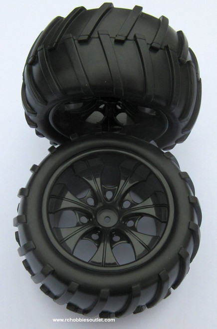 08010 N  1/10 Monster Truck Black Rims  (2 PC) HSP, Redcat
