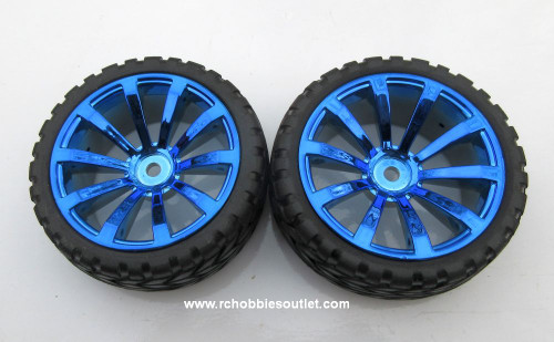 02020 02185  1/10 Scale Wheel, Tire and Rim Complete  X 2 Blue Spoke