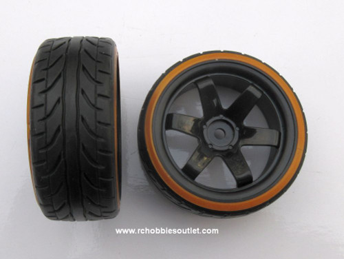 07003 1/10 Scale Drift Tires Rims Wheels  Gold-Black