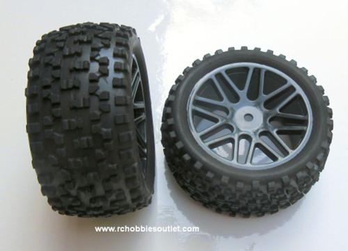 20123 BL Rear Tire & Wheel  HSP Buggy 06026 Black Rim