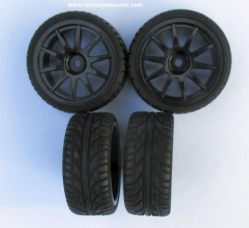 02020 02185 1/10 Scale Wheel -Tire and Black Rim ( Set of 4)
