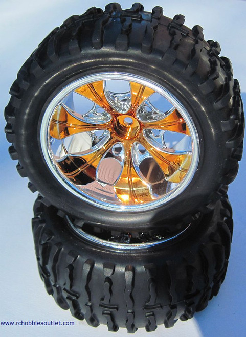 08010 N  1/10 MONSTER TRUCK GOLD FACTORY TEAM WHEEL  (2 PC) HSP, Redcat