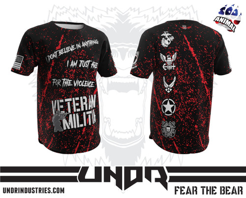 Just Here For The Violence Veteran Militia Tech Shirt