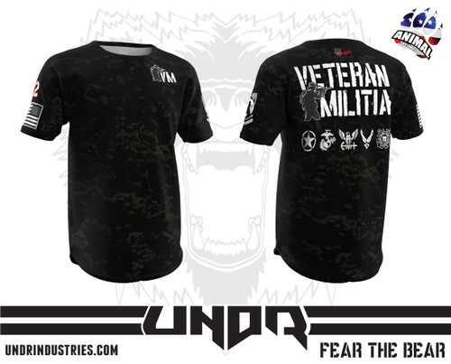 Black Multicam Veteran Militia Tech Shirt