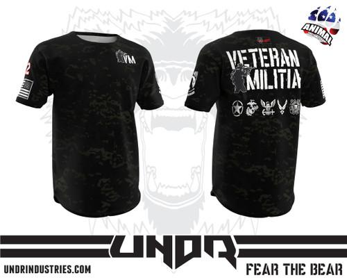 Black Multicam Veteran Militia Tech Shirt