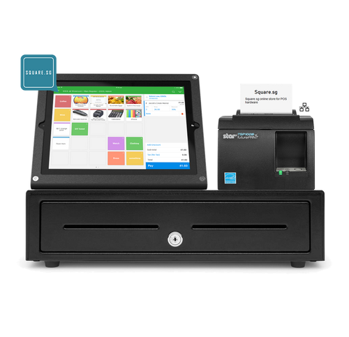 iPad POS hardware package, Star Micronics, TSP100IIIU USB receipt printer, Heckler design prime stand 9.7-inch,  350W cash drawer, and 5 thermal receipt for free.