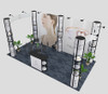 20'x10' POP-UP Display with 5 Square Round showcases
