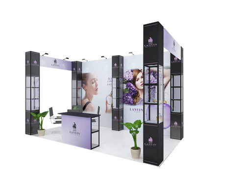 20'x10' POP-UP Display with 5 Square Shelf showcases