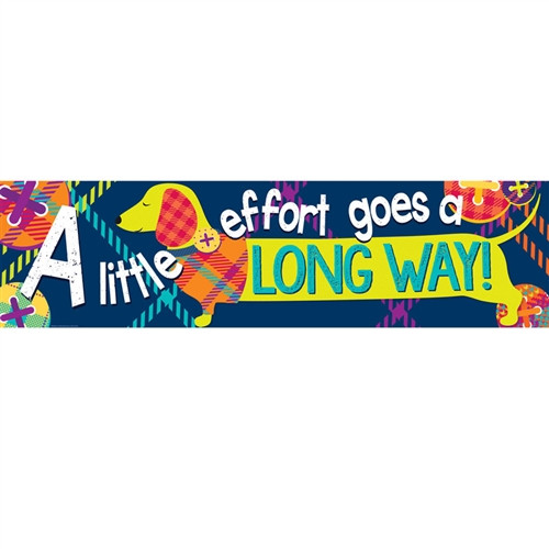 Little Effort Goes Long Way Banner Plaid Attitude Horizontal - 45 in. x 12 in.
