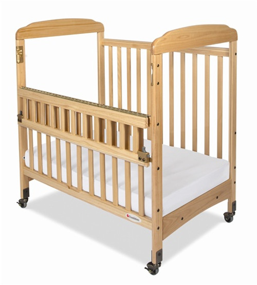 Serenity SafeReach Compact Size Mirrored Fixed Side Crib - Natural