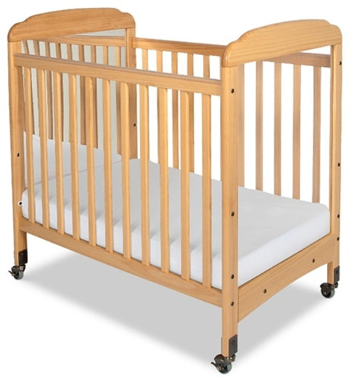 Serenity Compact Size Mirrored Fixed Side Crib - Natural