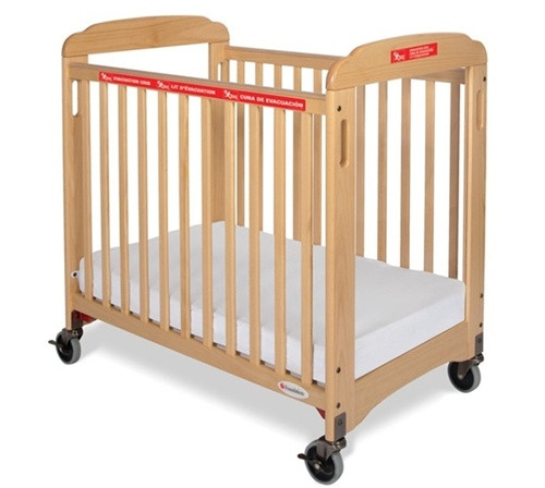 First Responder Evacuation Crib  - Natural -Fixed Side