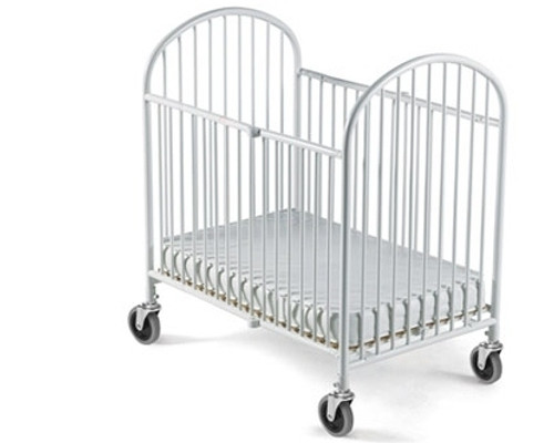 Pinnacle Steel Folding Crib White (Mattress Not Included)-Full Size