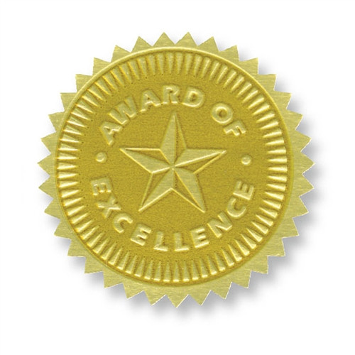 Gold Foil Embossed Seals Award Of Excellence - 1.75 in.