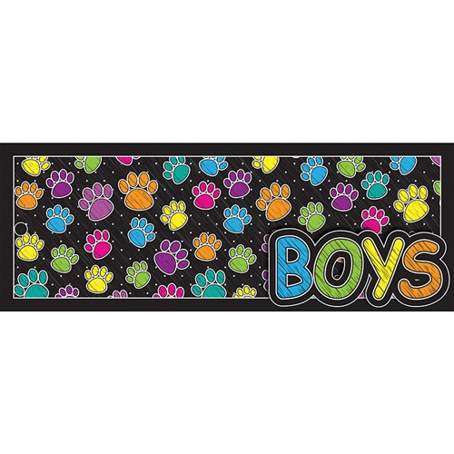 Laminated Hall Pass Colored Boy Paw - 9 in. x 3.5 in.
