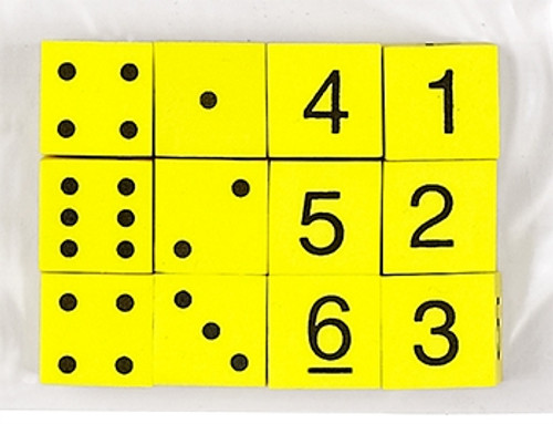 16mm Foam Dice Yellow Spot and Number