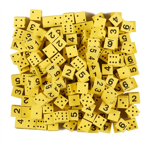 Yellow Foam Dice with Spots and Numbers - 0.63 in.