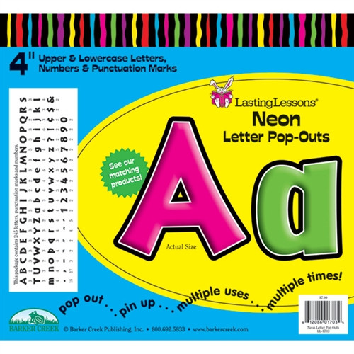 Neon Letter Pop-Outs - 4 in.