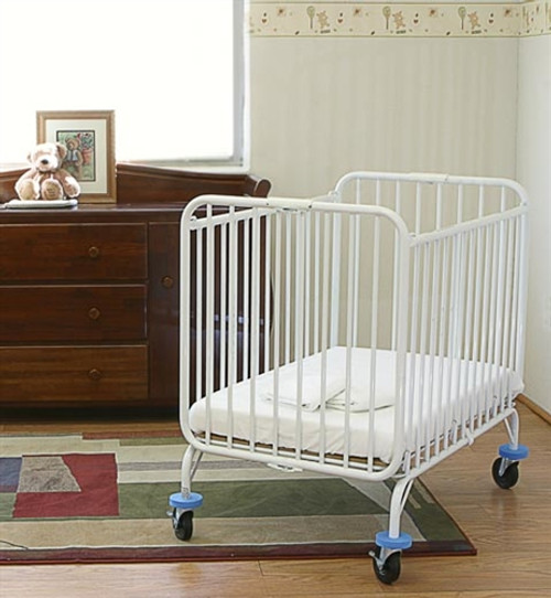 LA Baby Compact Metal Folding Deluxe Holiday Crib - White