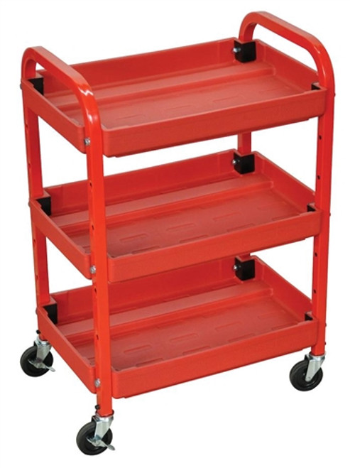 Three Shelves Adjustable Utility Cart Red - 22 in. x 15.5 in. x 32 in.
