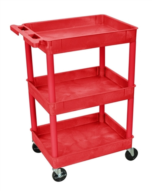 Tub Cart Three Shelves Red - 24 in. x 18 in. x 36.5 in.