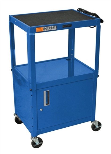 Three Shelves Adjustable Steel Cart with Cabinet - 24 in. x 18 in. x 42 in.