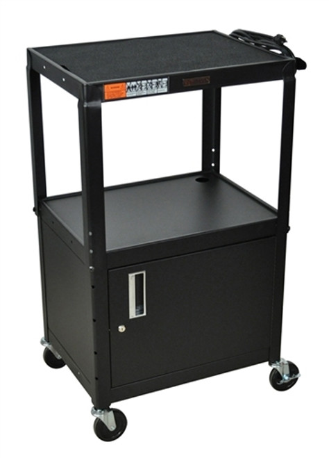 Three Shelves Adjustable Steel Cart with Cabinet Black - 24 in. x 18 in. x 42 in.