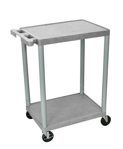 Utility Cart - Two Shelves Structural Foam Plastic Gray - 24 in. x 18 in. x 33.5 in.