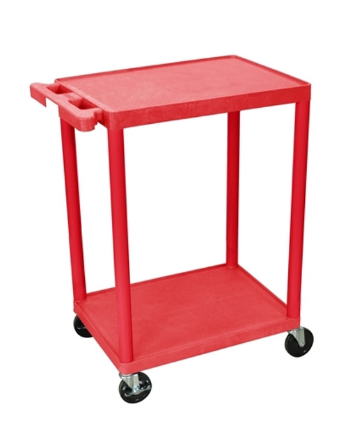 Utility Cart - Two Shelves Structural Foam Plastic Red - 24 in. x 18 in. x 33.5 in.