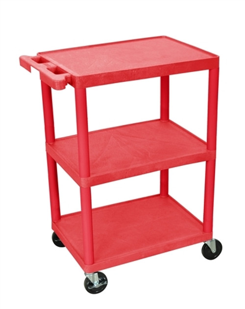 Utility Cart - Red 3 Shelves Structural Foam Plastic - 24 in. x 18 in. x 34 in.