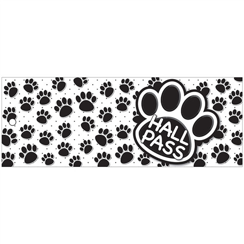 Hall Pass Black Paws Large 2 Sided Laminated Print - 3.5 in. x 9 in.