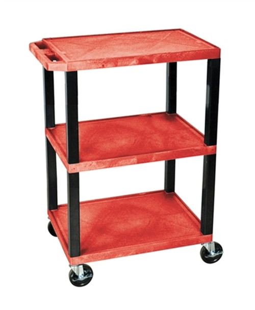 Three Red Shelves Tuffy Utility Cart - 24 in. x 18 in. x 34 in.