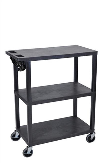 Black Fixed-Height Presentation Cart Three Shelves - 42 in.