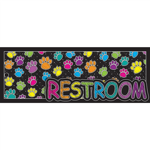 Laminated Hall Pass Colored Paws Rest Room