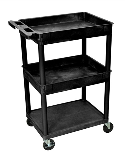 Top and Middle Tub and Flat Bottom Shelf Cart Black - 24 in. x 18 in. x 36.5 in.