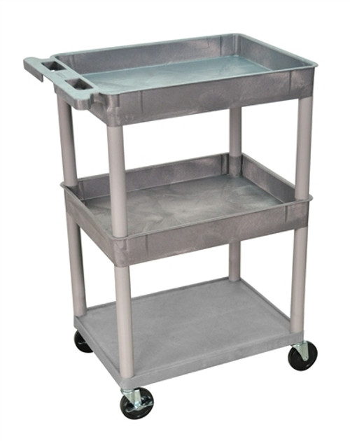 Top and Middle Tub and Flat Bottom Shelf Cart Gray - 24 in. x 18 in. x 36.5 in.