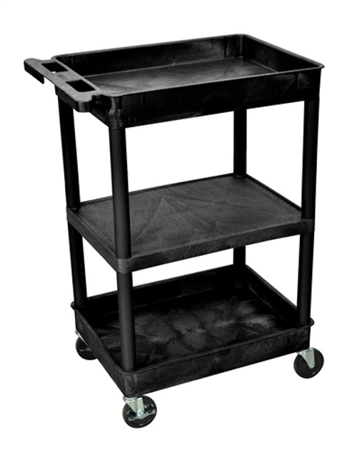Luxor Top and Bottom Tub and Flat Middle Black Shelf Cart - 24 in. x 18 in. x 36.5 in.