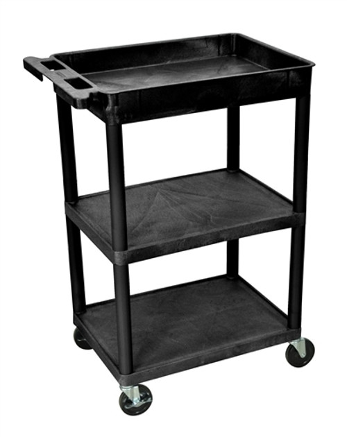 Tub Top and Flat Middle and Bottom Shelf Cart Black - 24 in. x 18 in. x 37.5 in.