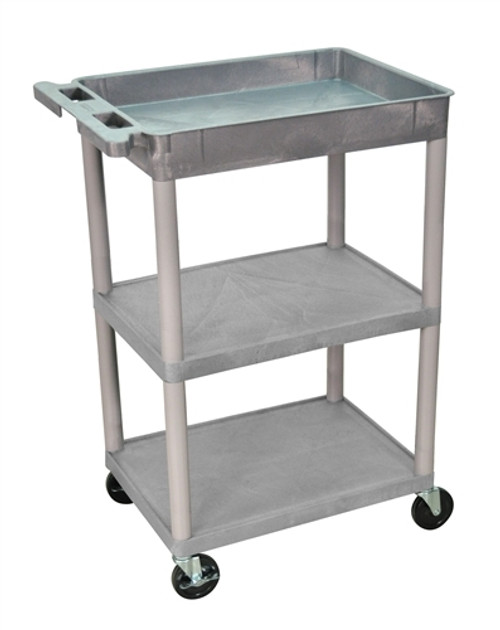 Tub Top and Flat Middle and Bottom Shelf Cart Gray - 24 in. x 18 in. x 37.5 in.
