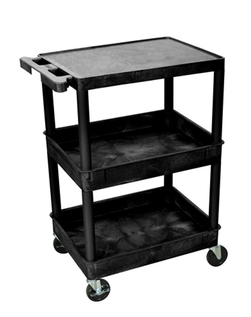 Flat Top and Tub Middle and Bottom Shelf Cart Black - 24 in. x 18 in. x 36.5 in.