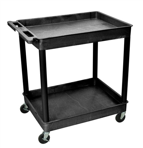 Two Shelves Large Tub Cart Black - 32 in. x 24 in. x 37.5 in.