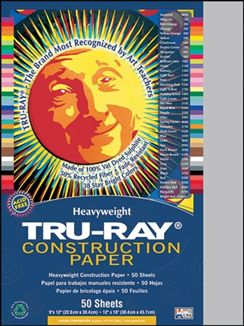 Tru Ray Gray 50 Sht Construction Paper - 9 in. X 12 in.