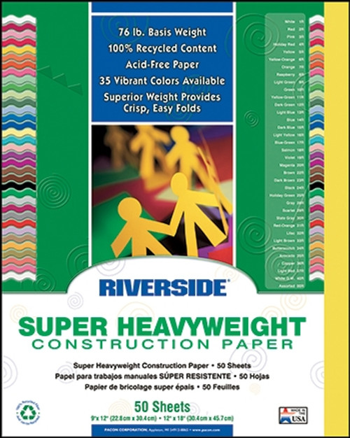 Riverside Yellow 50 Sht Construction Paper - 9 in. x 12 in.