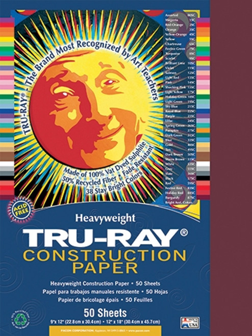 Tru Ray Burgundy 50 Sht Construction Paper - 9 in. X 12 in.