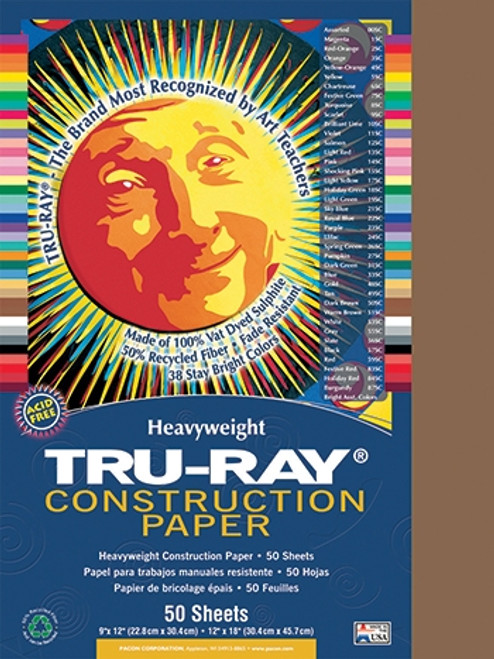 Tru Ray Brown 50 Sht Construction Paper - 12 in. X 18 in.